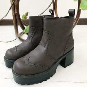 Vintage 90's Chunky Vegan Leather Boots